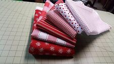 Red & White Quilting Cotton Hearts Stripes Snowflakes BTY or Piece