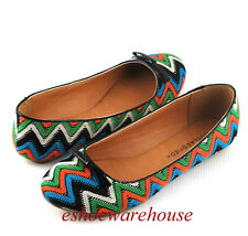 Turquoise Multi Zig Zag Pattern Cutie Ballet Flats Shoes Round Toe Tiny Bow