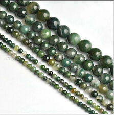 Natural Green Moss Agate Gemstone Round Beads 16'' Strand 4mm 6mm 8mm 10mm 12mm
