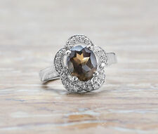 925 Sterling Silver Ring with Oval Cut Smoky Natural Topaz Gemstone Handmade