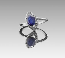 925 Sterling Silver Ring with Oval Blue Sapphire Natural Gemstone Handmade eBay.