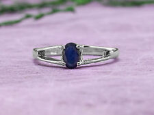 925 Sterling Silver Ring with Oval Cut Blue Sapphire Natural Gemstone Handmade.