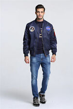2017 MA-1 NASA letterman varsity american ollege bomber flight jacket for men.
