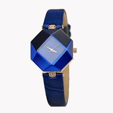 Blue Gem Luxury Ladies Bling Watches Fashion Diamond Rhinestone Wristwatch Watch