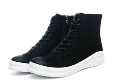 Faux Suede Leather Round Toe Lace Up High Top Mens Chic Sneakers Athletic Shoes