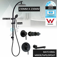 Black 9'' Round HandHeld Shower Head Sliding Rail Set Mixer Tap Diverter Spout
