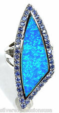Tanzanite & Blue Fire Opal Inlay 925 Sterling Silver Unique Ring Sz 6,7,8,9