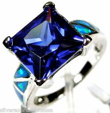 Tanzanite & Blue Fire Opal Inlay 925 Sterling Silver Ring size 6,7,8,9