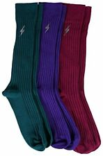 3 Pairs Mens Pima Cotton Over the Calf Dress Socks Ribbed Textured Sock Assorted
