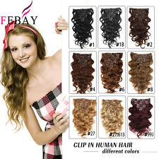 "Remy Clip In Real Human Hair Double Weft Body Wave Hair Extensions 14""-24"" 100g"