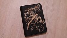 100% REAL GENUINE LEATHER COVER SPIRAL NOTEBOOK A6 COVER:REFILLABLE Dragonfly