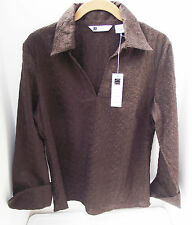 NEW CAROLE LITTLE SOLID BROWN EYELET LACE FRENCH CUFF LINEN ZIP BLOUSE TOP  M  L