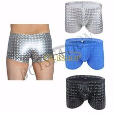 Men Sexy Patent Leather Pouch Boxer Briefs Swim Trunks Underwear Swimwear Bikini