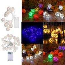 Battery Operated Rattan Ball LED String Fairy Light Lamp for Wedding Xmas Decor