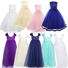 Girl Kid Flower Princess Formal Party Wedding Bridesmaid Tulle Gown Long Dress