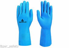 x2 Pairs Delta Plus Venitex VE440 Blue Latex Washing Up Rubber Gloves Marigolds