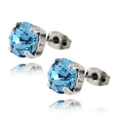 Nara Round Crystal Stud Earrings, Silver Plated Post with Swarovski
