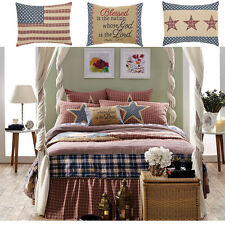 Independence Country Americana Flag Quilt Shams Pillows Set~5-7P Twin Queen King