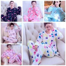New Autumn Winter Women Pajamas Coral Fleece Sleepwear Warm Bathrobe Nightgowns