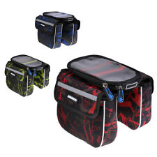 Bicycle Frame Pannier Bike Front Tube Bag Bag with Screen Cycling Saddle Bag