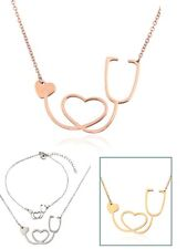 Medical Doctor Nurse Stethoscope Stainless Steel Necklace with Heart Pendant PE8