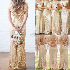 Wedding Bridal Mermaid Gold Sequin Dress Bridesmaid StretchyBackless Party Gown