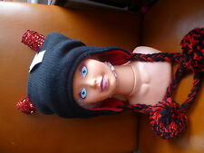 CLAIRES BLACK RED SEQUIN HORNS DEVIL KNIITTED PERUVIAN POM POM HAT FLEECE LINED