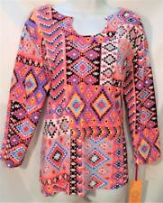 RUBY RD. WOMEN PLUS SIZE 1X BEADED NECK 3/4 SLEEVE TRIBAL PRINT TOP SHIRT NEW