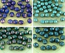 40pcs Opal Luster Round Faceted Fire Polished Spacer Czech Glass Beads 6mm