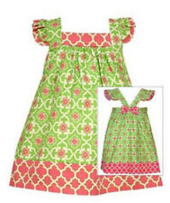 Girls Dress Pink & Green Quatrefoil Print Back Bow Toddler NWT Bonnie Jean