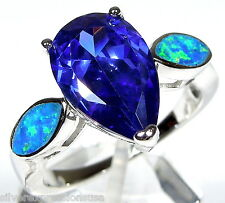 Huge Tanzanite & Blue Fire Opal Inlay Solid 925 Sterling Silver Ring Sz 6,7,8,9