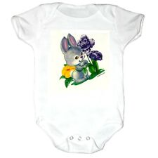 Infant creeper bodysuit romper t-shirt Bunny Rabbit Flowers (k-268)