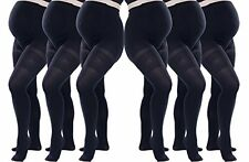 6 Pack Black Womens Opaque Maternity Tights Comfortable Soft Pregnancy Pantyhose