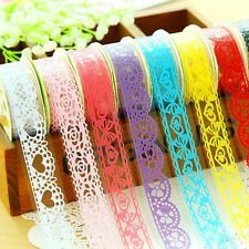 5 Rolls DIY Diary Adhesive Stickers Lace Tape Stationery Wedding Party Decor New
