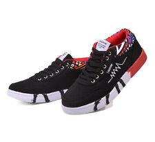 Men's Boys Canvas Casual Shoes Print Lace Up Fashion Sneaker Walking Outdoor New