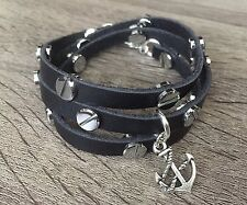 Handmade Black Leather Bracelet Band Silver Metal Rivets Anchor Meaningful Charm