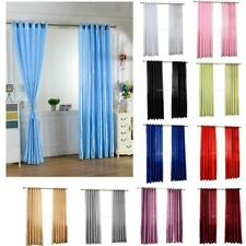 SMOOTH SATIN THERMAL BLACKOUT CURTAINS SHEER VOILE WINDOW DRAPE 200cm/250cm PICK