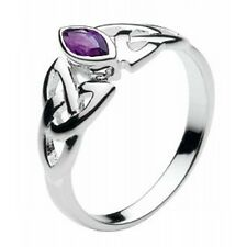 New Silver and Amethyst Stone Celtic Trinity Knot Ring Celtic Jewellery Boxed