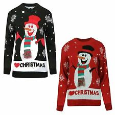 Girls Boys Xmas Vintage Snowman Red Hat Scarf Novelty Jumper Sweater Pullover