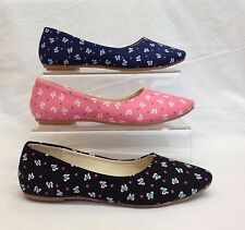Womens Ladies Butterfly Flat Dolly Ballerina Ballet Pump Loafer Boat Shoes Size