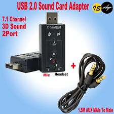 USB 2.0 To AUX 2 Port 3D Sound Card Adapter + 3.5mm Male To Male Audio Cable