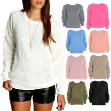 New Womens Baggy Oversized Plain Colour Chunky Knitted Baggy Jumper Pullover Top
