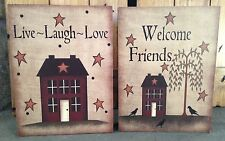 """Primitive Country Rustic """" WELCOME FRIENDS & Live/LOVE/LAUGH """"  Box Sign"""