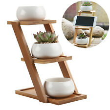 Set of 3 Ceramic Succulent Plant Flower Pots with Bamboo Stand Garden Planter