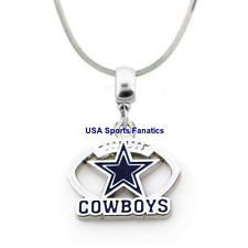 NFL Dallas Cowboys Football Logo Pendant Necklace On A 925 Snake Chain 5 sizes