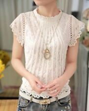 Women Fashion Crochet Hollow Out Lace Blouse Short Sleeve White Slim Tops
