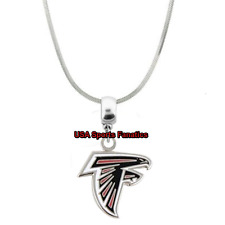 NFL Atlanta Falcons Team Logo 925 Sterling Silver Snake Chain Necklace (5 Sizes)