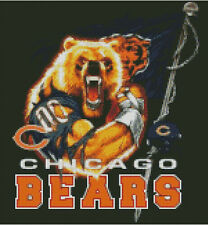 Cross stitch chart, Chicago, Bears, NFL, American, Football, US.