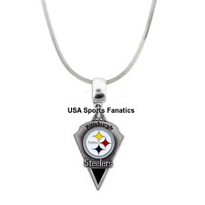 NFL Pittsburgh Steelers Team Logo 925 Sterling Silver Snake Chain Necklace