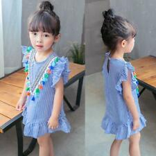Toddler Kids Baby Girls Clothes Stripe Tassel Ruffles Party Princess Wed Dresses